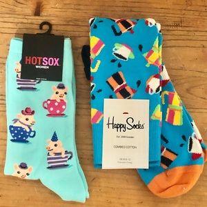Lot of 2 Women's Socks - Happy Socks / Hot Sox NWT
